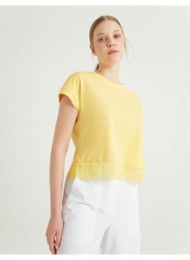 BGN Limon Rengi - Dantel Detaylı Pamuklı T-Shirt Sarı